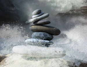 zen stones by stormy water